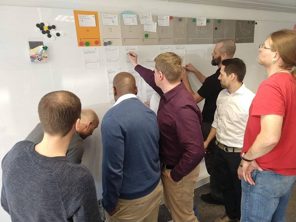 Eine Gruppe stellt sich den Herausforderungen der agilen Kultur