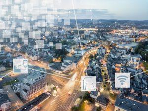 Imagebild zum Thema Netzwerke. Vernetzte Gebäude, Stadt.