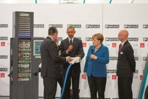 Barack Obana, Angela Merkel, Jack Nehlig und Frank Stührenberg