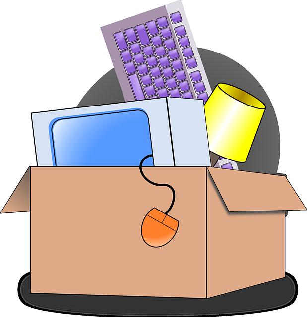 Jobhopping: Karton mit Schreibtischutensilien