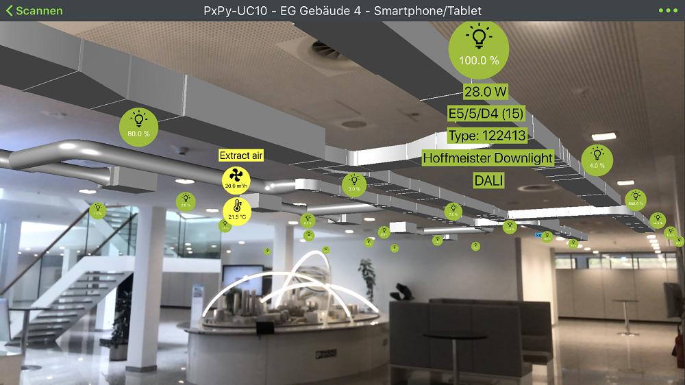 Virtuelle Anwendung um Informationen zum Gebäude zu erhalten