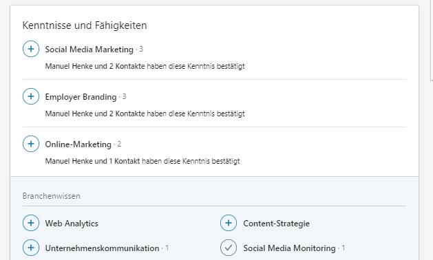 Screenshot LinkedIn Kenntnisse und Fähigkeiten