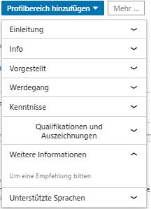 Screenshot LinkedIn Profilbereich hinzufügen