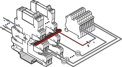 Tradycyjne oprzewodowanie urządzeń wykonawczychz konstrukcją uniwersalną PLC