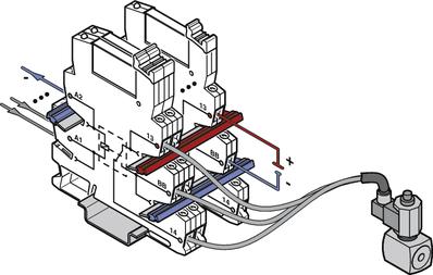 Proste oprzewodowanie z konstrukcją w wersji urządzenie wykonawcze PLC..ACT