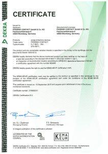 kema dekra certificate
