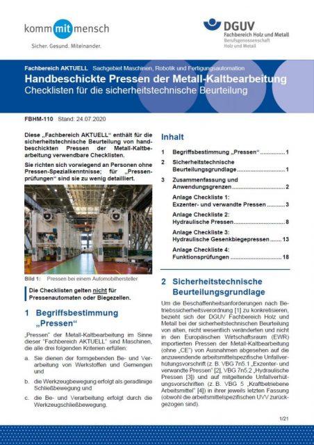 DGUV-Informationen zu handbeschickte Pressen der Metall-Kaltbearbeitung