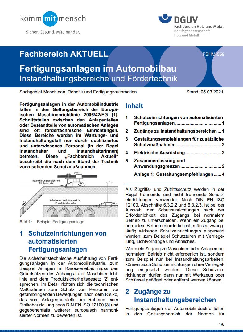 DGUV Fachinformation: Fertigungsanlagen im Automobilbau