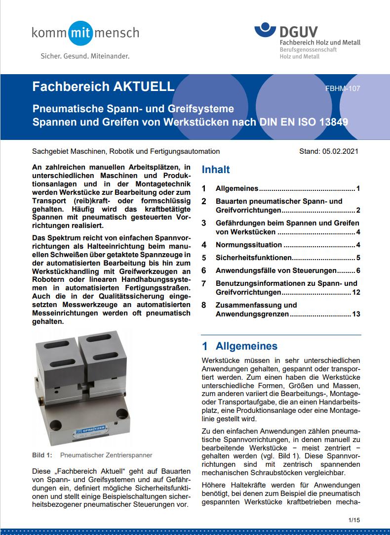 DGUV Fachinformation: Pneumatische Spann- und Greifsysteme Spannen und Greifen von Werkstücken nach DIN EN ISO 13849