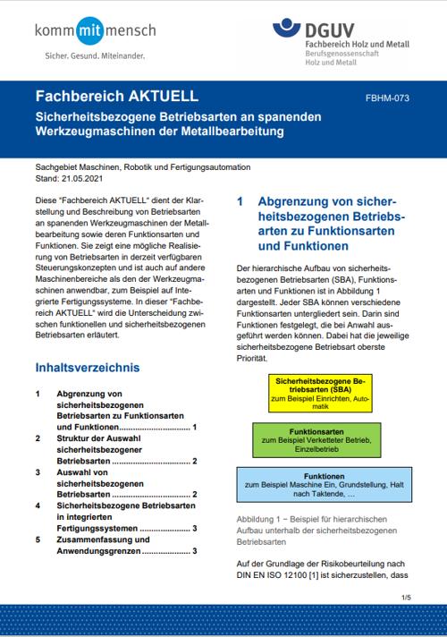 """""""Sicherheitsbezogene Betriebsarten an spanenden Werkzeugmaschinen der Metallbearbeitung"""""""